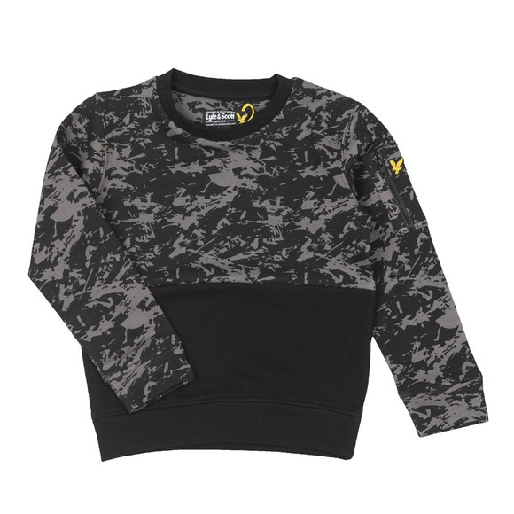 Lyle And Scott Junior Boys Black Camo Block Crew Sweatshirt