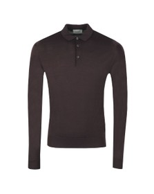 John Smedley Mens Purple Cast Belper Long Sleeve Polo Shirt