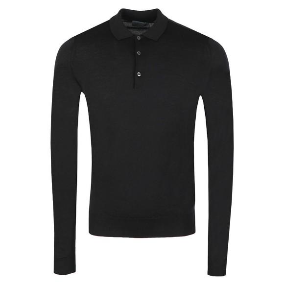 John Smedley Mens Black Belper Long Sleeve Polo Shirt