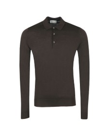 John Smedley Mens Dark Cocoa Belper Long Sleeve Polo Shirt