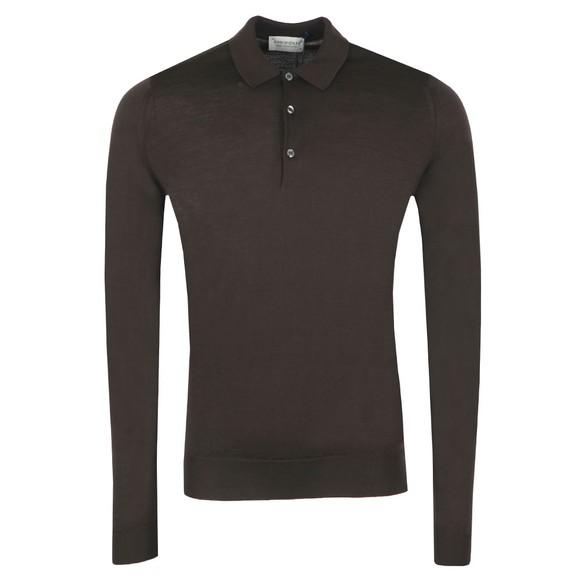 John Smedley Mens Dark Cocoa Belper Long Sleeve Polo Shirt