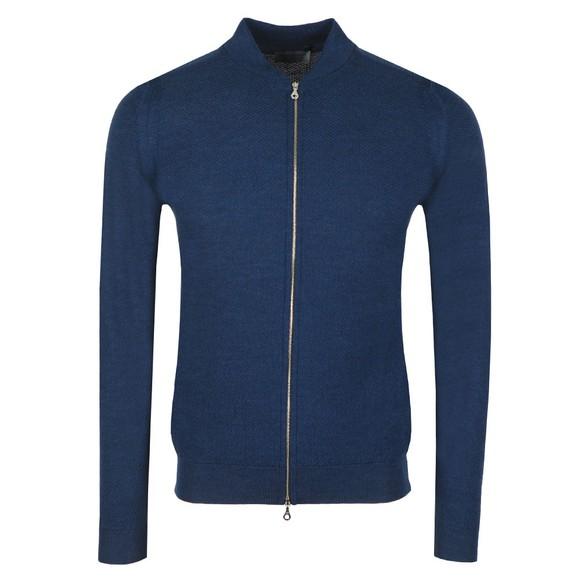 John Smedley Mens Blue 6 Singular Honeycomb Full Zip Jacket
