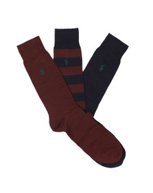 Polo Ralph Lauren Mens Multicoloured 3 Pack Stripe & Plain Sock Box Set