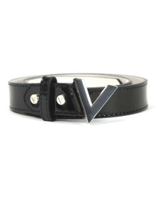Valentino by Mario Womens Black Small Logo Plain Forever Belt