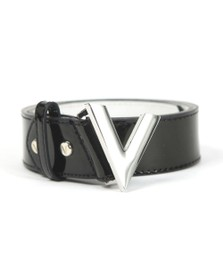 Valentino by Mario Womens Black Plain Large Logo Patent Forever Belt