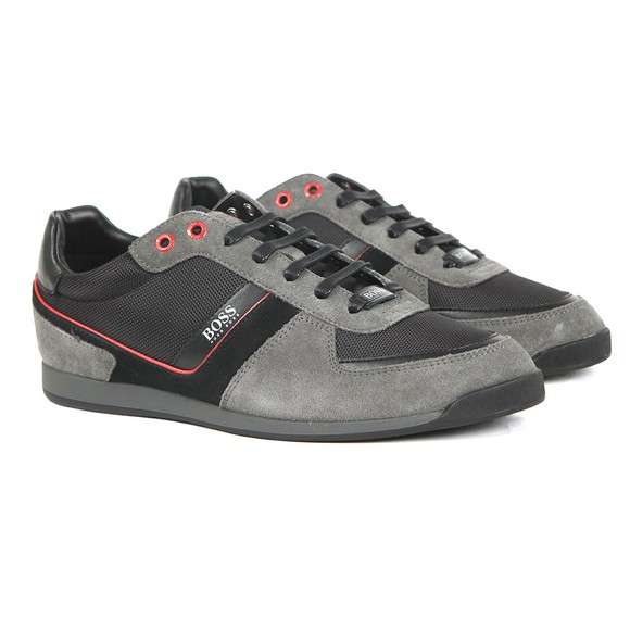 BOSS Mens Grey Athleisure Glaze Low Suede Mix Trainer main image