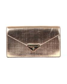 Michael Kors Womens Pink Grace Medium Metallic Leather Envelope Clutch