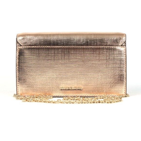 Michael Kors Womens Pink Grace Medium Metallic Leather Envelope Clutch main image
