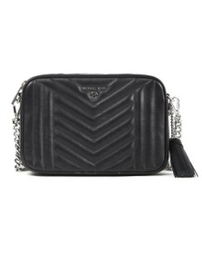 Michael Kors Womens Black Jet Set Charm Quilted Camera Bag