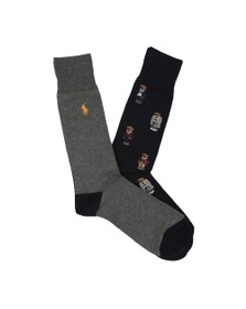 Polo Bear By Ralph Lauren Mens Blue Allover Bear Logo 2 Pack Sock