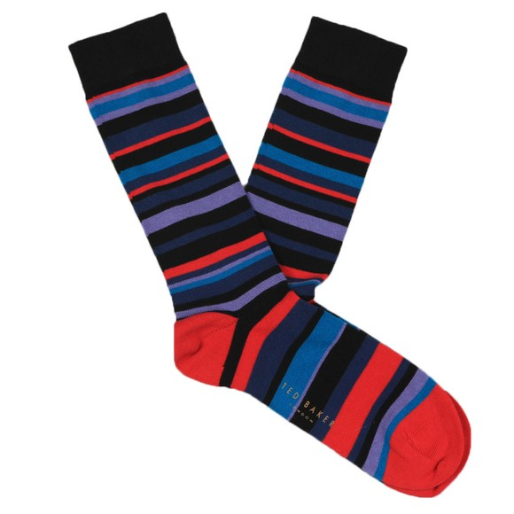 Ted Baker Mens Red Multi Stripe Sock main image