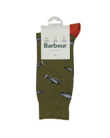 Barbour Lifestyle Mens Green Fish Sock