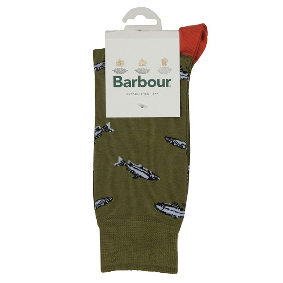 Barbour Lifestyle Mens Green Fish Sock main image