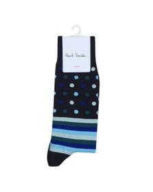 PS Paul Smith Mens Blue Polka Stripe Sock