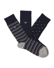 Emporio Armani Mens Blue 3 Pack Sock Box