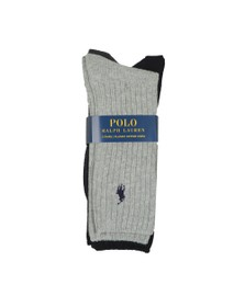 Polo Ralph Lauren Mens Navy/Grey 3 Pack Crew Sock