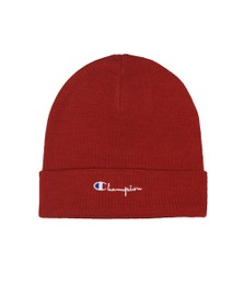 Champion Mens Red Script Logo Beanie