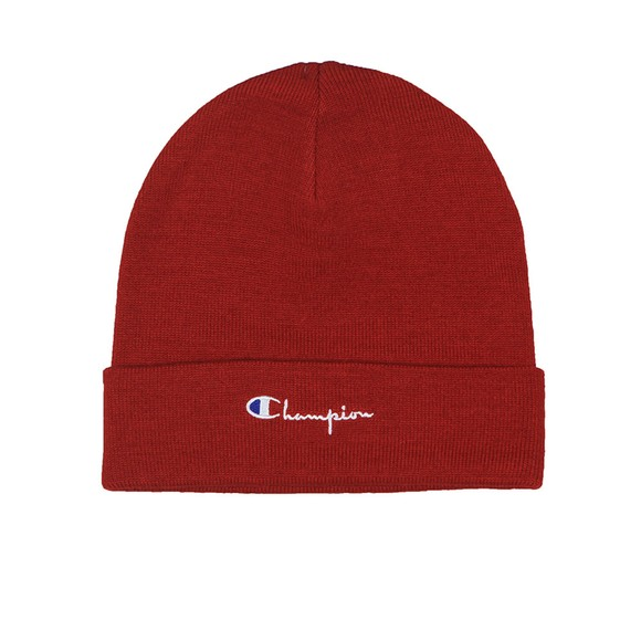 Champion Reverse Weave Mens Red Script Logo Beanie