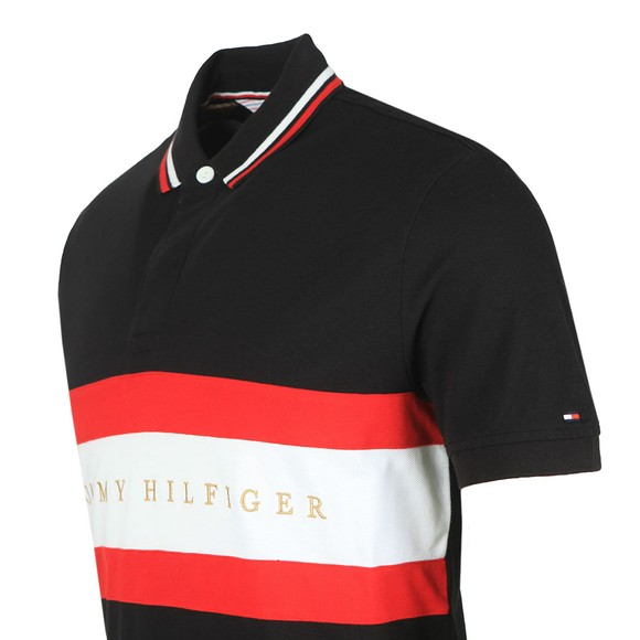 Tommy Hilfiger Mens Black Chest Stripe Polo