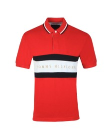 Tommy Hilfiger Mens Red Iconic Chest Stripe Polo