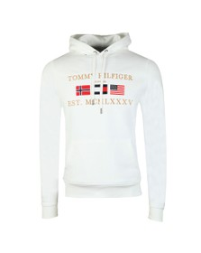 Tommy Hilfiger Mens White Multi Flag Hoody