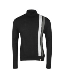 Pretty Green Mens Black Stripe Roll Neck