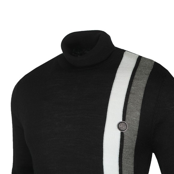 Pretty Green Mens Black Stripe Roll Neck main image