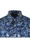 Pretty Green Mens Blue Slim Fit Paisley Print Shirt