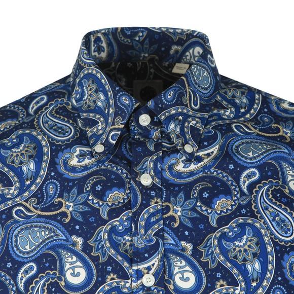Pretty Green Mens Blue Slim Fit Paisley Print Shirt main image