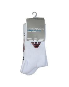 Emporio Armani Mens White 2 Pack Large EA Logo Sock
