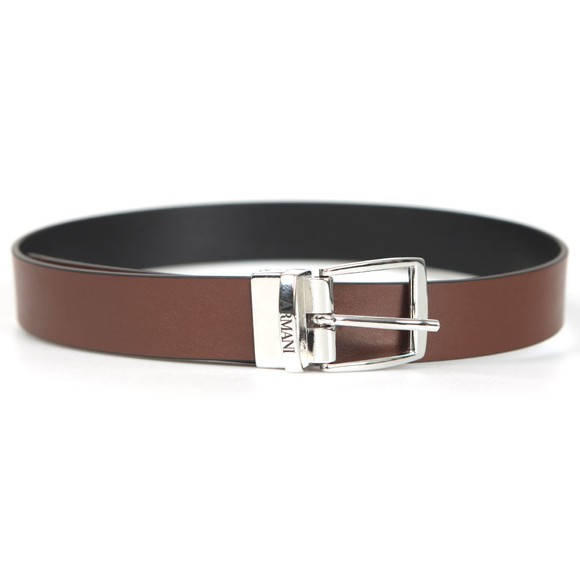 Emporio Armani Boys Brown Boys Reversible Leather Belt