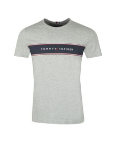 Tommy Hilfiger Mens Grey Logo Chest Stripe T-Shirt