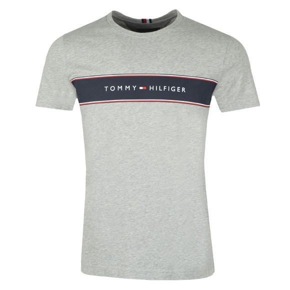 Tommy Hilfiger Mens Grey Logo Chest Stripe T-Shirt main image
