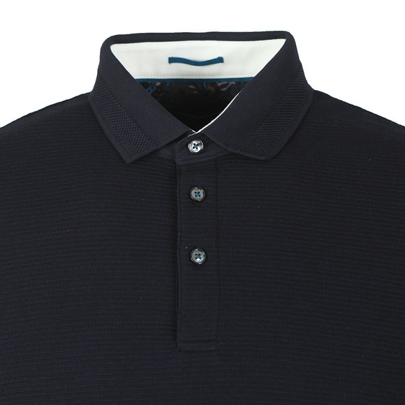 Ted Baker Mens Blue Terned LS Polo Shirt main image