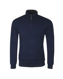 Ted Baker Mens Blue Tunnel Textured Funnel Neck Jumper