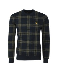 Lyle and Scott Mens Blue Check Knitted Jumper