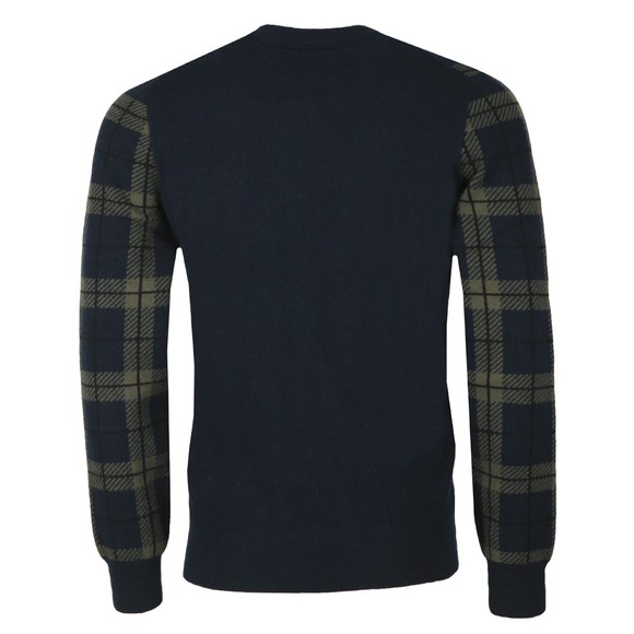 Lyle and Scott Mens Blue Check Knitted Jumper main image