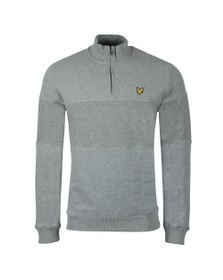 Lyle and Scott Mens Grey Contrast Panel Funnel Neck Sweat
