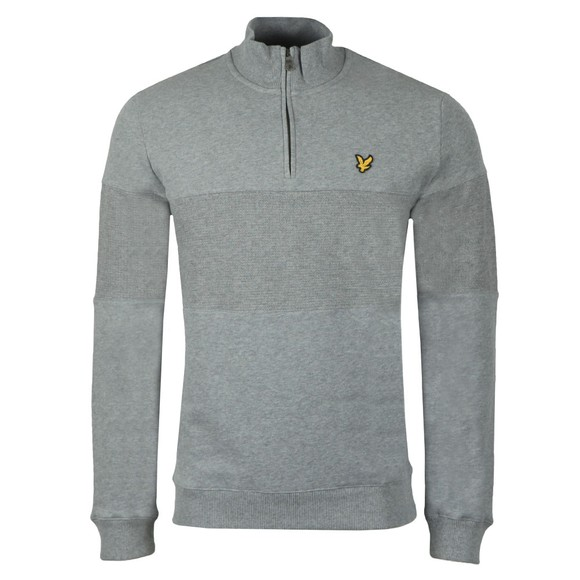 Lyle and Scott Mens Grey Contrast Panel Funnel Neck Sweat main image