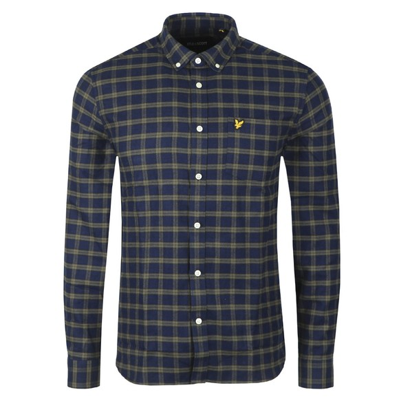 Lyle and Scott Mens Blue Check Flannel Shirt main image