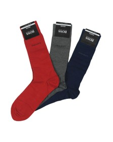 BOSS Mens Multicoloured 3 Pack Plain Box Set Sock