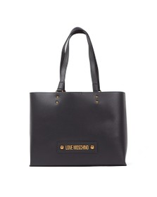 Love Moschino Womens Black Plaque Tote