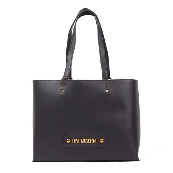 Love Moschino Womens Black Plaque Tote