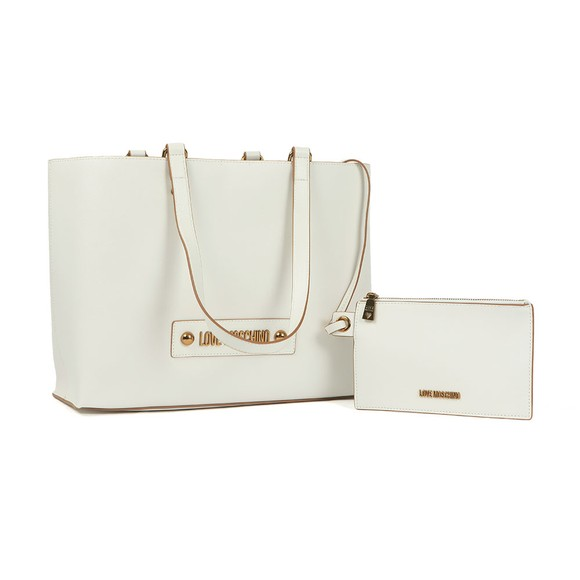 Love Moschino Womens White Plaque Tote main image