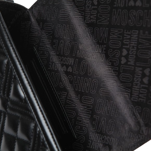 Love Moschino Womens Black Cross Quilted Clutch Bag main image