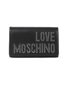 Love Moschino Womens Black Diamante Logo Clutch Bag