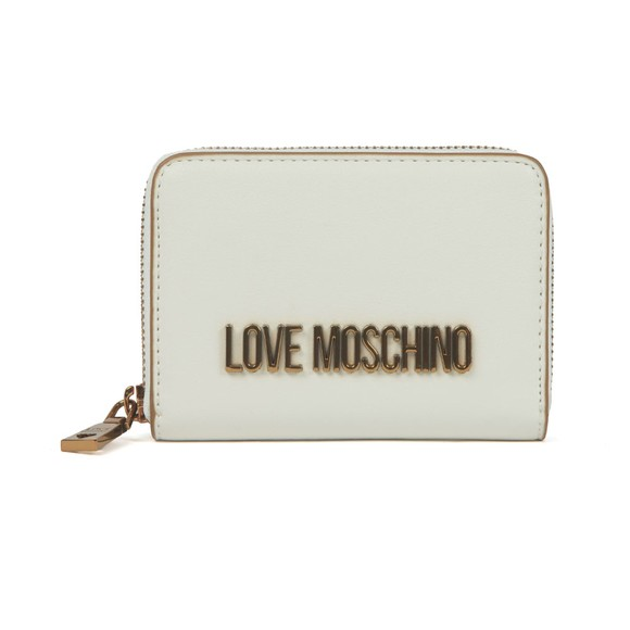 Love Moschino Womens White Metal Logo Purse