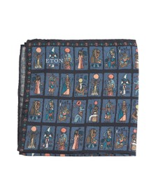 Eton Mens Blue Egyptian Pocket Square