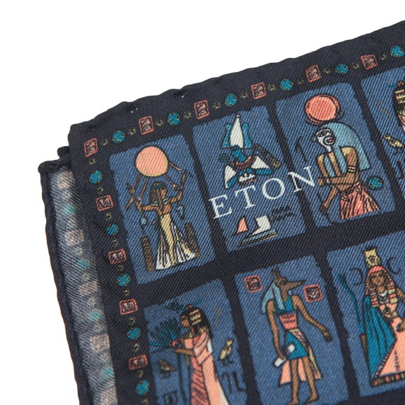 Eton Mens Blue Egyptian Pocket Square main image