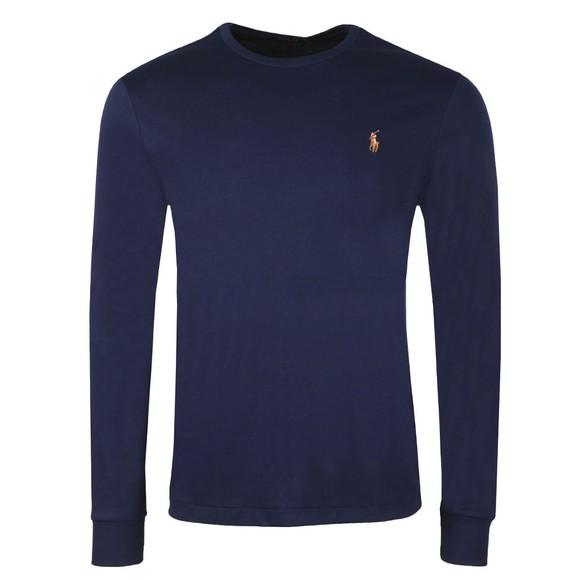 Polo Ralph Lauren Mens Blue Custom Slim Fit Long Sleeve Pima Cotton T Shirt